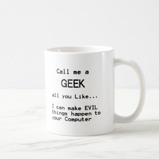Friki del ordenador taza de café