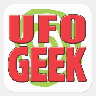 Friki del UFO Calcomanía Cuadrada Personalizada