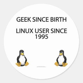 Friki desde nacimiento Usuario de Linux desde 199 Etiquetas Redondas