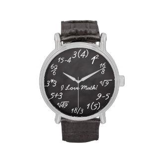 Friki divertido de la matemáticas relojes de mano