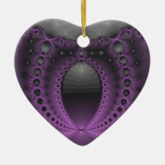 Friki púrpura adorno navideño de cerámica en forma de corazón