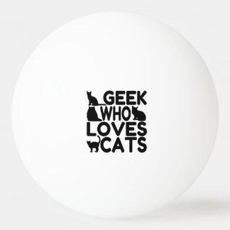 Friki que ama gatos pelota de tenis de mesa