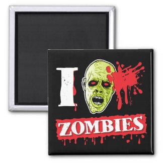 Friki salpicado sangre del zombi imán cuadrado