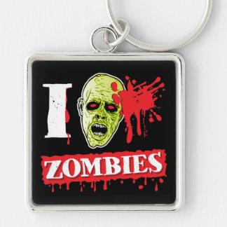 Friki salpicado sangre del zombi llavero cuadrado plateado