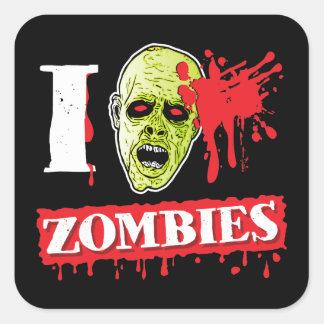 Friki salpicado sangre del zombi pegatina cuadrada