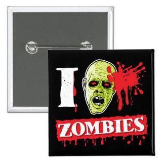 Friki salpicado sangre del zombi pin cuadrado
