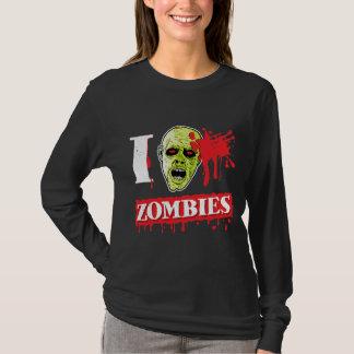 Friki salpicado sangre del zombi playeras