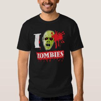Friki salpicado sangre del zombi remeras