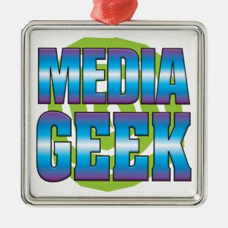 Friki v3 de los medios adorno cuadrado plateado