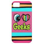 Frikis brillantes del amor del corazón I del ojo iPhone 5 Carcasas