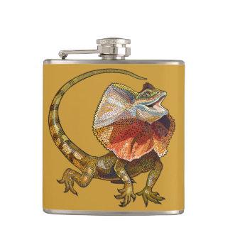 frill necked lizard hip flask
