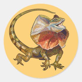 frill necked lizard classic round sticker