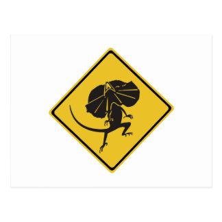 Frill-necked Lizards Crossing, Traffic Sign, AU Postcard
