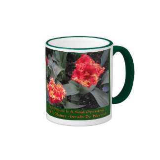 Frilled edge fire Tulips Ringer Coffee Mug