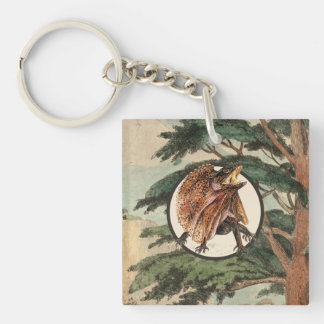 Frilled Lizard In Natural Habitat Illustration Keychain