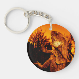 Frilled Neck Lizard on Burnt Tree Stump Keychain