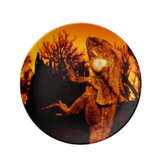 Frilled Neck Lizard on Burnt Tree Stump Porcelain Plate