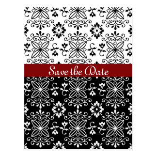 Frilly Black, White and Red Save the Date Postcard