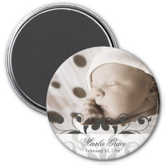 Frilly Charcoal Scrollwork Announcement Magnet