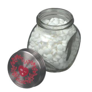 Frilly, Fancy Valentine Candy Jar Glass Candy Jar