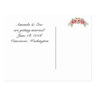Frilly Floral Save the Date Postcard w/ Your Photo