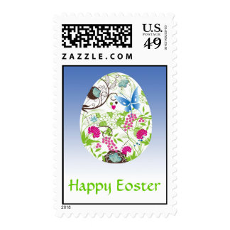 Frilly Florals Eoster Egg Postage Stamps