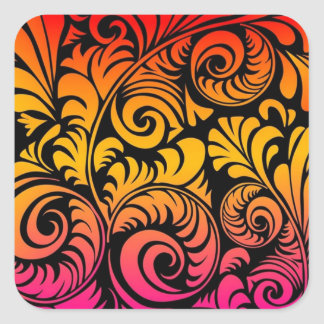 Frilly Fronds 1 Square Sticker