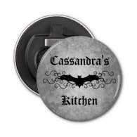 Frilly grungy Halloween bat personalized Button Bottle Opener