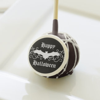 Frilly Halloween bat design black and white Cake Pops