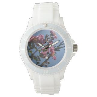 Frilly Pink Flowers Natural Botanical Wrist Watch