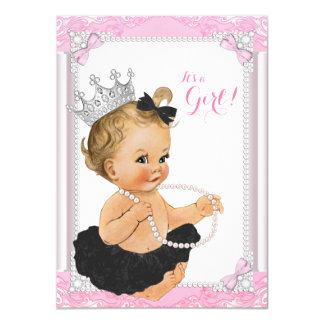 Frilly Princess Black Tutu Pearl Baby Shower Card