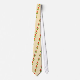 Frilly  Red and Yellow Orchids Neck Tie