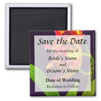 Frilly  Red and Yellow Orchids Save the Date 2 Inch Square Magnet
