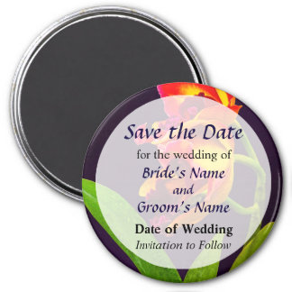 Frilly  Red and Yellow Orchids Save the Date 3 Inch Round Magnet