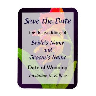 Frilly  Red and Yellow Orchids Save the Date Rectangular Photo Magnet