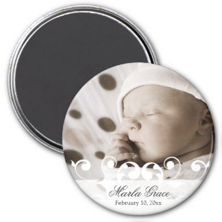 Frilly White Scrollwork Announcement Magnet
