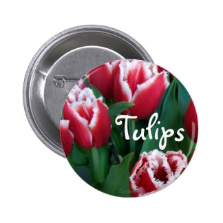 Fringed Red Tulips 2 Inch Round Button