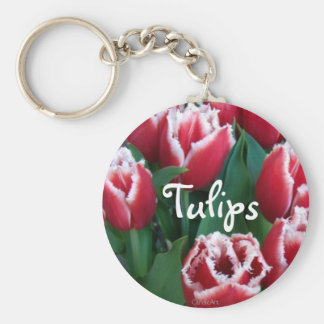 Fringed Red Tulips Basic Round Button Keychain