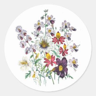 Fringeflowers y flores de trompeta del terciopelo pegatina redonda