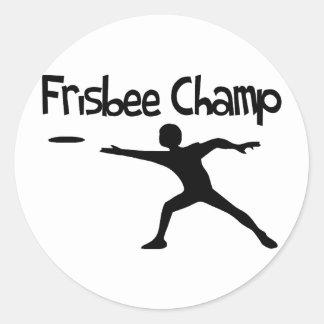 Frisbee Champ Round Sticker