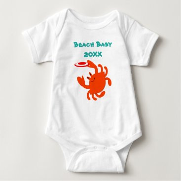 Beach Themed Frisbee Crab Beach Baby Personalized Baby Bodysuit