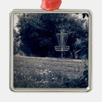 Frisbee Disc Golf Basket Metal Ornament