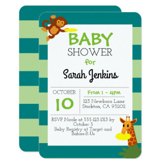Frisbee Jungle Baby Shower 3x5 Invitation