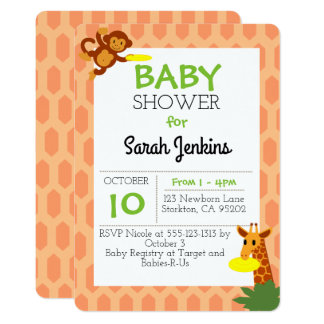 Frisbee Jungle Coral Baby Shower Invitation