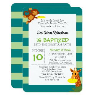 Frisbee Jungle Monkey Personalized Small Baptism Card