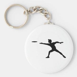 Frisbee Silhouette Keychain