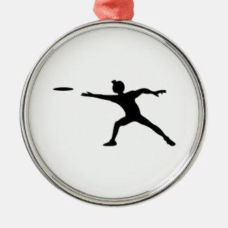 Frisbee Silhouette Metal Ornament
