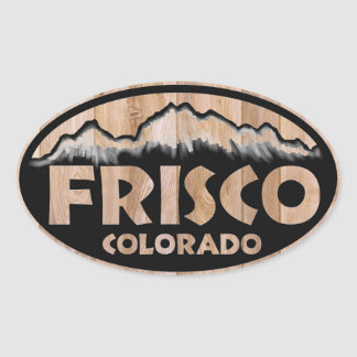 Frisco Colorado wood sign oval stickers
