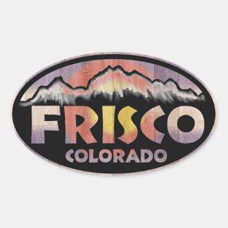 Frisco Colorado wooden flag oval stickers