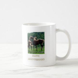 Frisky Horses Anniversary Couple Mugs